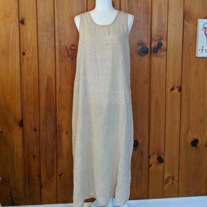 Beige Flax Linen Small Maxi Dress Lagenlook